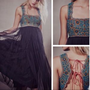 Free People Midnight Kiss Embellished Tulle Dress